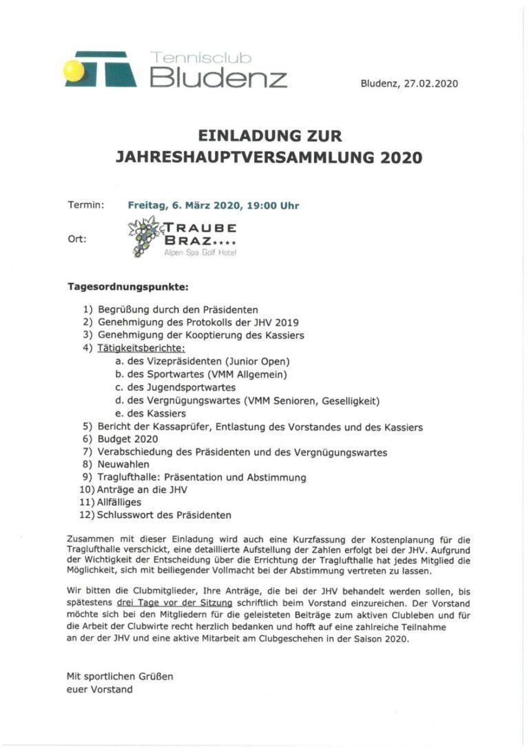 Jahreshauptversammlung am 6. März