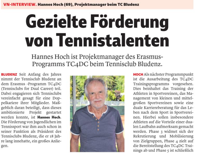 Erasmus: gezielte Förderung von Tennistalenten